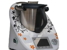 Autocollant pour thermomix-tM5 arabesques de fleurs noir/orange mat)